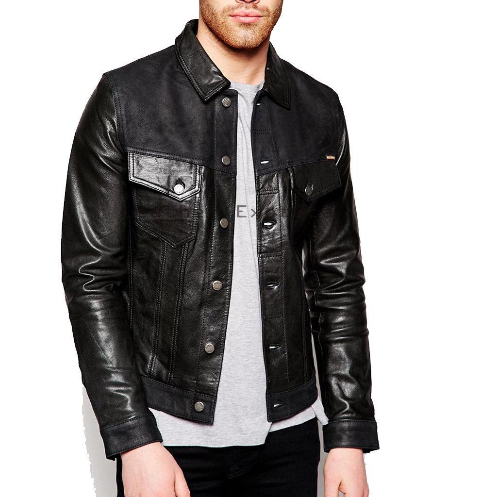 Shirt Style Men Leather Jacket – Leatherexotica