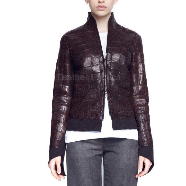 Croc Print Leather Jacket