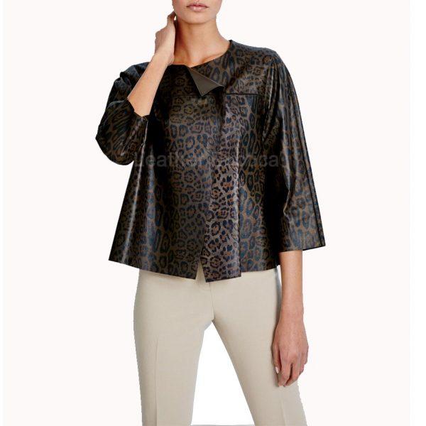 Leopard Print Leather Jacket