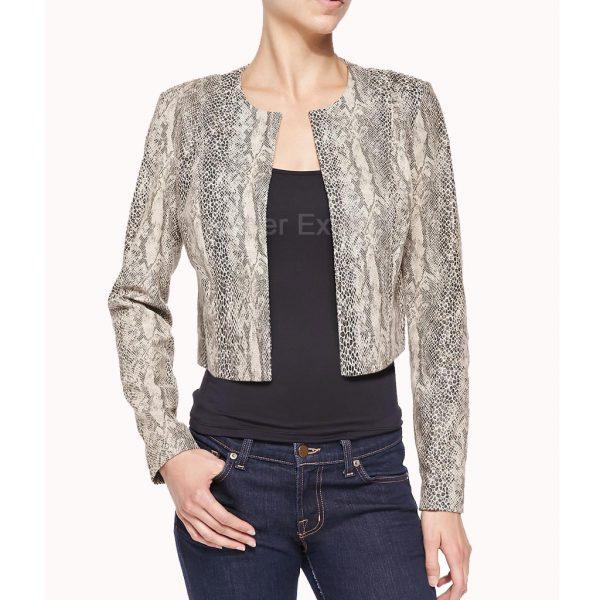Snake Skin Print Leather Jacket