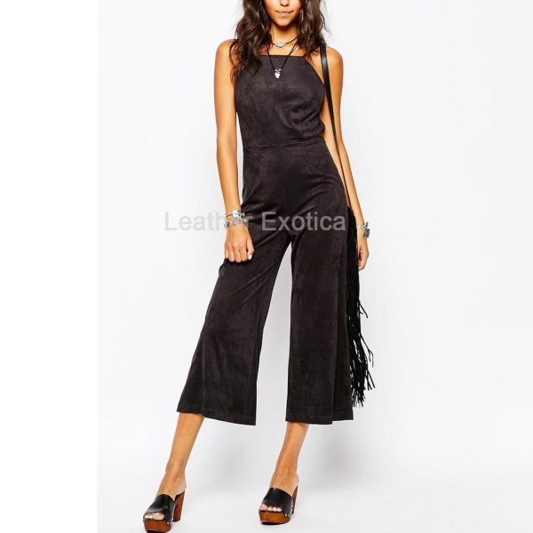 suede leather jumpsuit