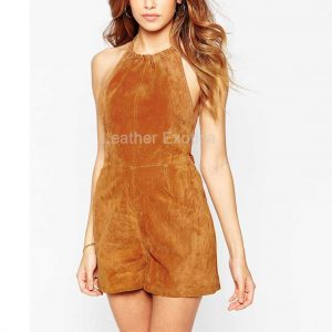 suede leather playsuit