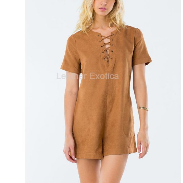 Women Suede Leather Playsuit
