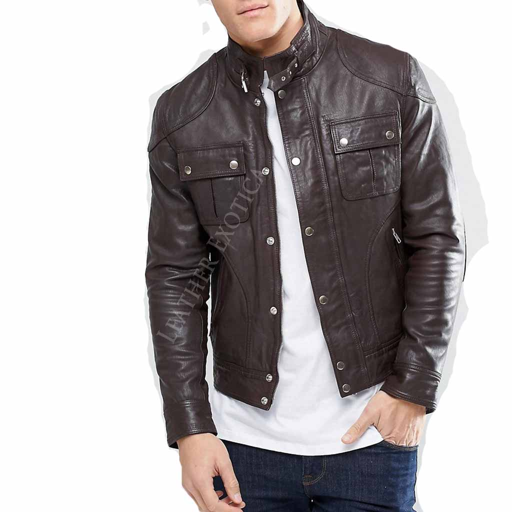 Best Motorcycle Jacket >> Cool Style Leather Jacket With Chest Pocket – Leatherexotica