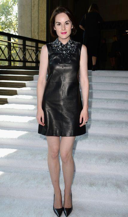 Embellished neckline leather dresses