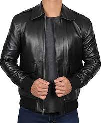 Leather Bomber Jackets - Real Leather Vintage Jacket for Men at Amazon  Men's Clothing store